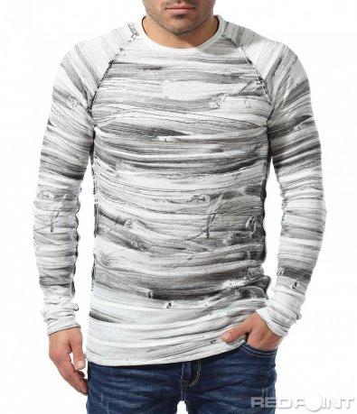 Ефектна блуза в меланжиран десен 9064