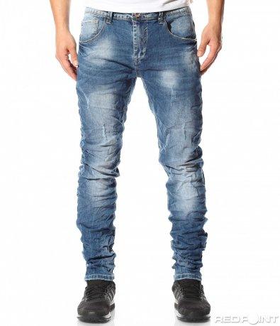 Сини дънки с намачкан ефект 9101