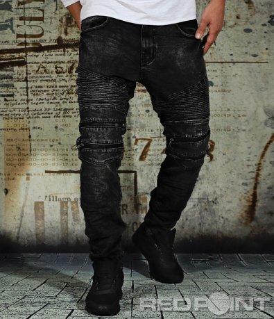 Черни дънки с релефен ефект 9109