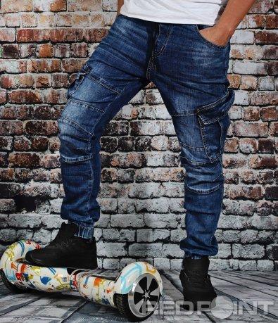Спортни сини карго дънки с ластик 9112