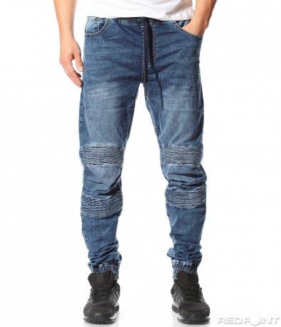 Актуални сини дънки с ластик 9115