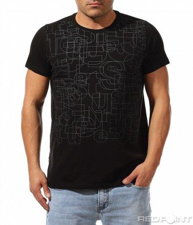 Черна тениска с принт 9137