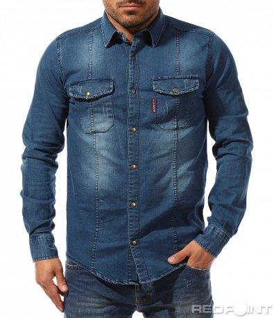 Спортна риза в тъмно син цвят 9185