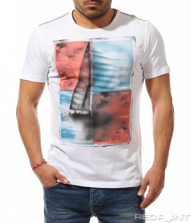 Памучна тениска с арт щампа 9168