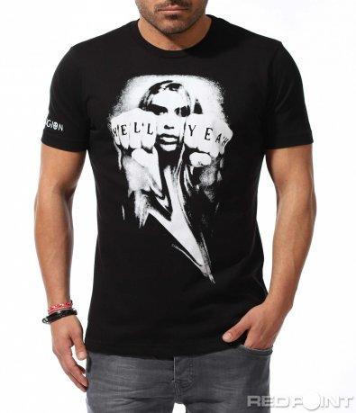 Черна тениска Religion с голяма щампа 9197