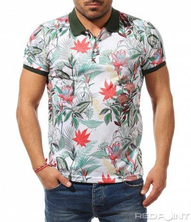 Тениска с яка в цветен принт 9207