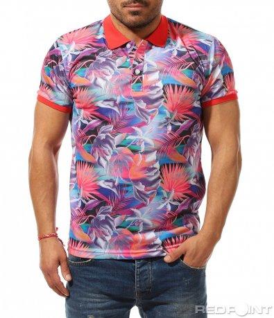Пъстра лятна тениска с яка 9209