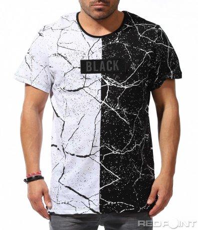 Двуцветна тениска с пръски и щампа 9214