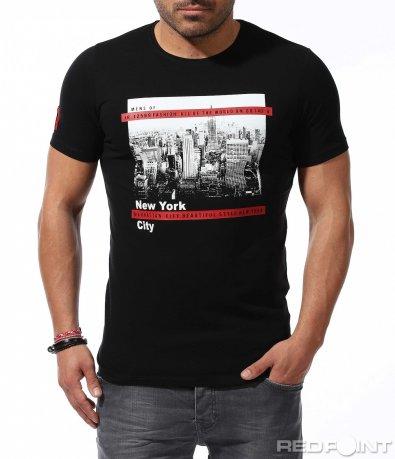 Автентична тениска с градски мотиви 9223