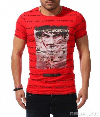 Открояваща се тениска с надписи и щампа 9225