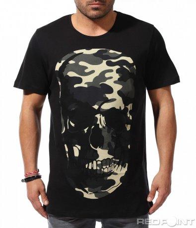 Тениска с камуфлажна щампа череп 9216