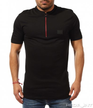 Черен polo shirt с цип 9236