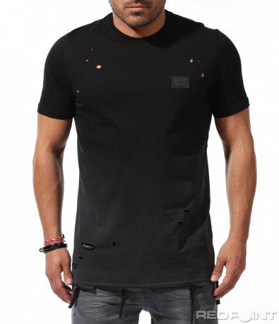 Тениска с перфориран ефект 9243