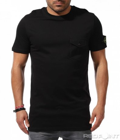 Издължен модел тениска с джоб 9244