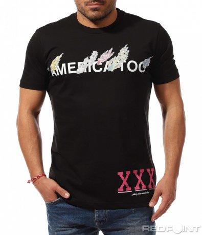 Черен t-shirt с цветна щампа 9246