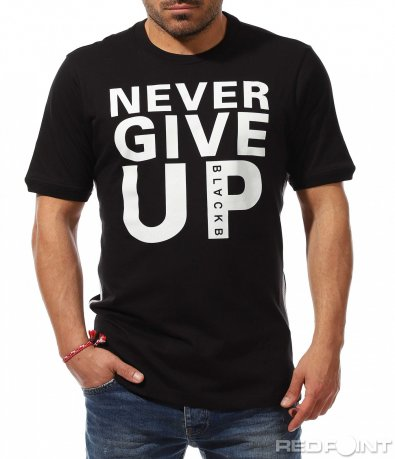 Черна тениска бял надпис 9247