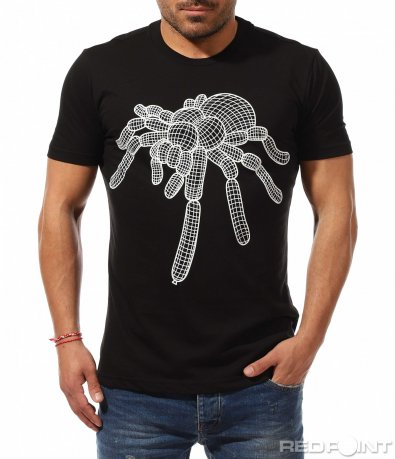Черна тениска с щампа паяк 9148