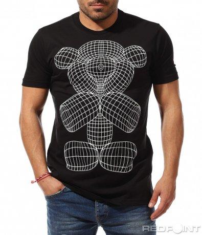 Черна тениска с нетипичен принт 9249