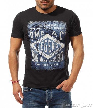 Тъмно сива тениска с щампа 9250