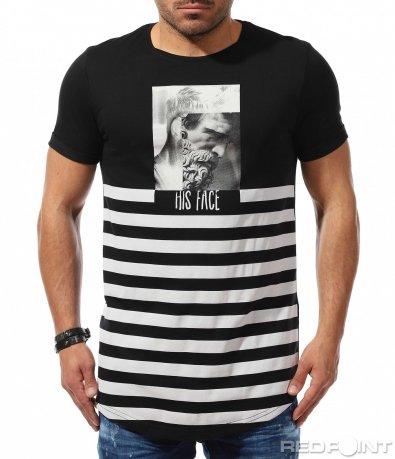 Издължена тениска с раиран принт 9285