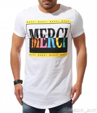 Бяла тениска с едър надпис 9286