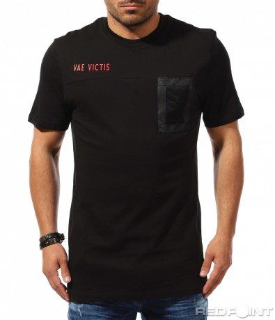 Черен t-shirt с издължена кройка 9299