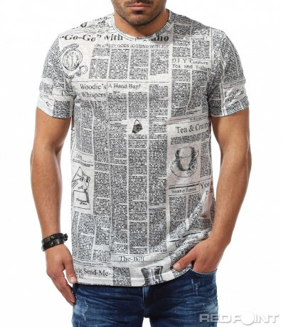 Ефектна тениска с черно бял десен 9301