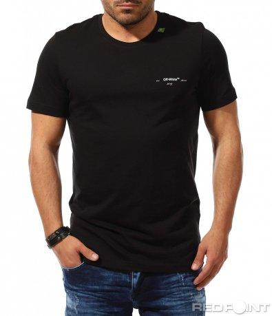 Черна тениска с пъстър гръб 9302