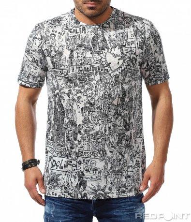 Черно бяла тениска с принт 9303