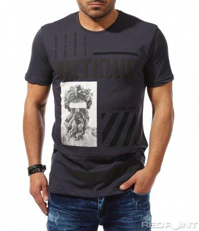 Вталена тениска с контрастираща щампа 9312