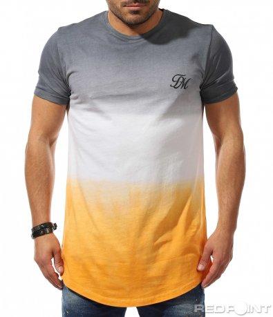 Издължена тениска с трицветен десен 9322