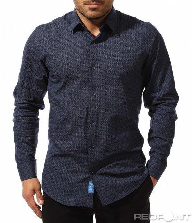 Класическа риза с флорални мотиви 9310