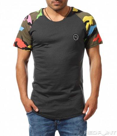 Изчистена тениска с камуфлажен акцент 9315