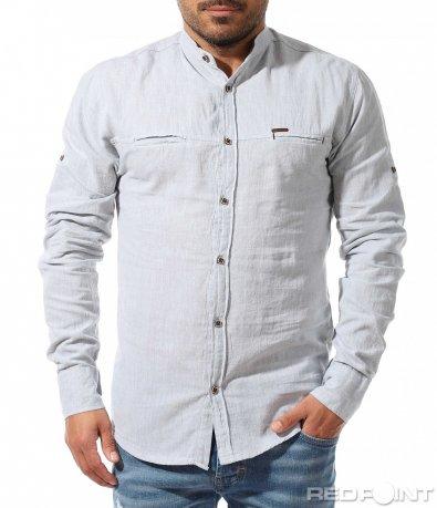 Спортно елегантна риза в светъл цвят 9335