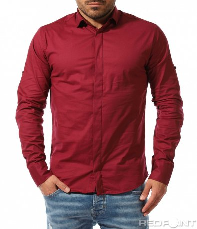 Изчистена риза в едноцветен десен 9336
