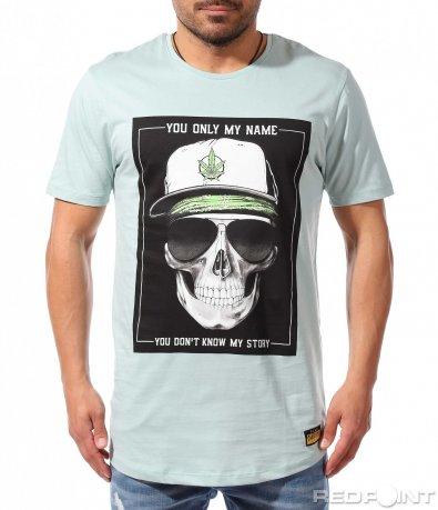 Щура тениска с щампа череп 9341