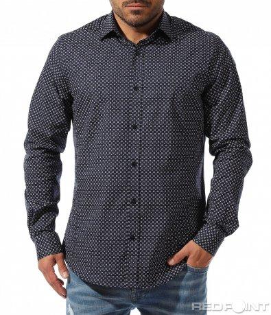 Черна риза с бели орнаменти 9343