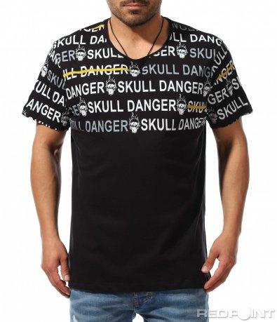 Клубна тениска с бели надписи 9358