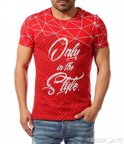 Пъстра тениска с контраст 9368