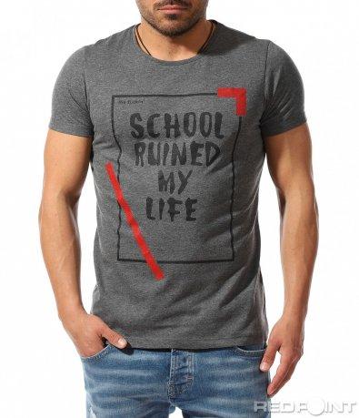 Модна тениска с щампа и надпис 9369