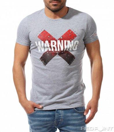 Тениска с интересна щампа и надпис 9213