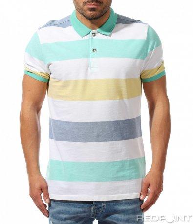Лятна тениска с яка в раиран принт 9378