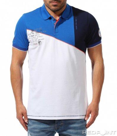 Трицветен polo t-shirt с надпис 9379