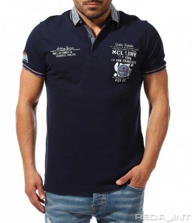 Класна поло тениска с щампи 9380