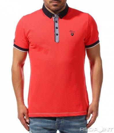 Тениска с яка в цвят корал 9381