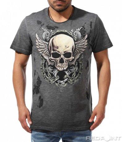 Тъмно сив t-shirt с щампа 9391