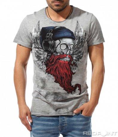 Сива тениска с череп 9392