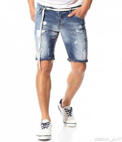 Pantaloni denim de culoare albastru deschis 9372