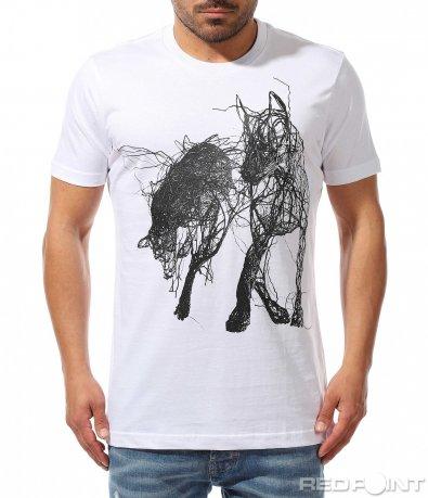 Тениска с интересна щампа 9373
