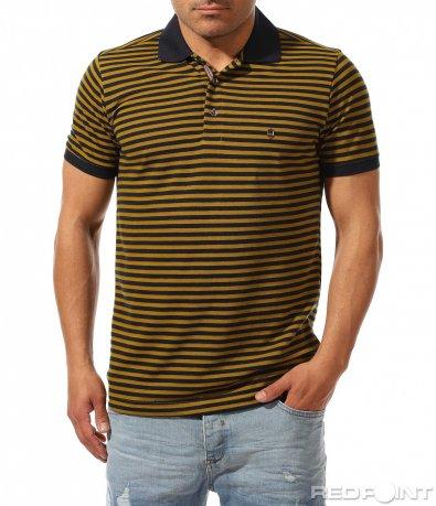 Семпла поло тениска с раиран принт 9423